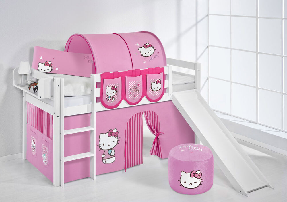 spielbett hochbett jelle 190x90 weiss mit rutsche lilokids hello kitty rosa ebay. Black Bedroom Furniture Sets. Home Design Ideas