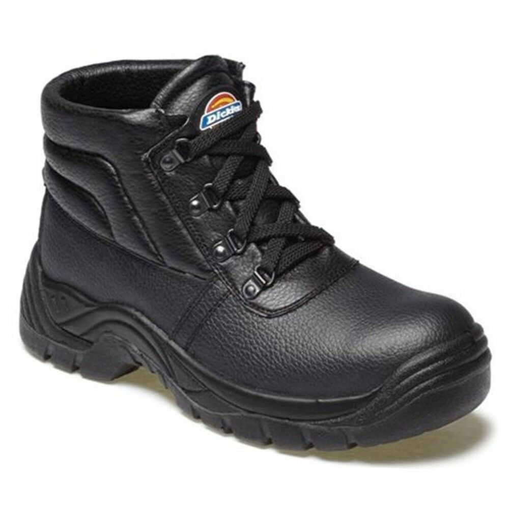 MENS DICKIES BLACK LEATHER HIKER SAFETY WORK BOOTS STEEL TOE CAP SHOES UK SIZES | EBay