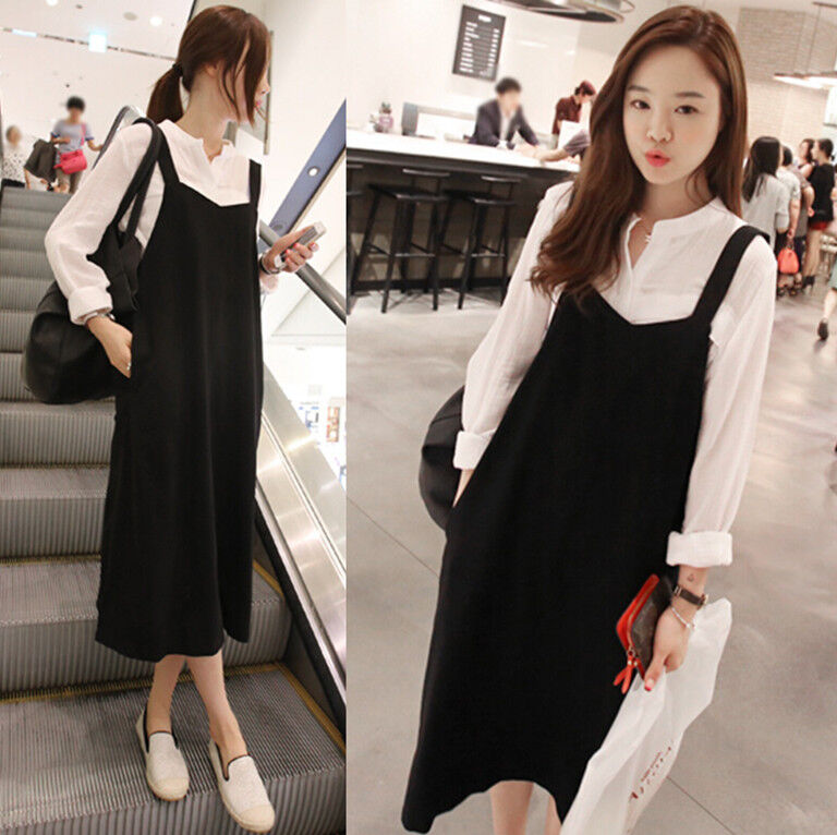 Korean Style Women 39 S Retro Style Fashion Suspender Skirt Long Dress Q73 Ebay