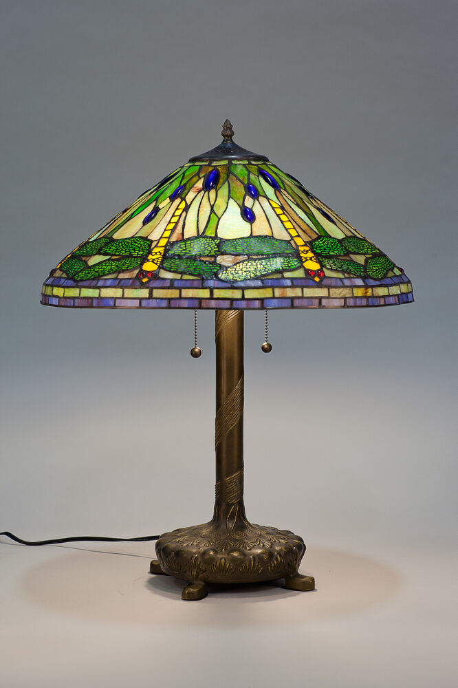 tiffany style stained cut glass green dragonfly table lamp 20 shade. Black Bedroom Furniture Sets. Home Design Ideas
