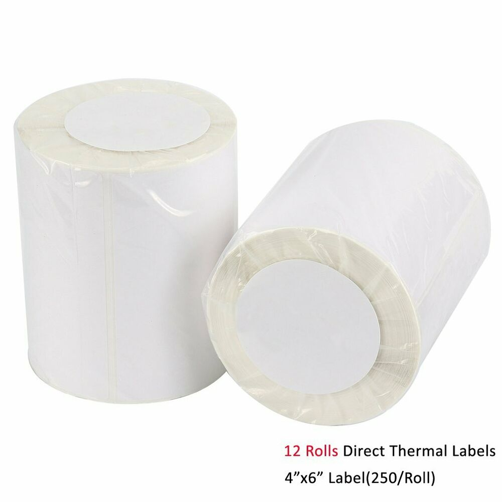 12 Rolls 4x6 Direct Thermal Labels 250 Per Roll For Zebra LP2844 ...