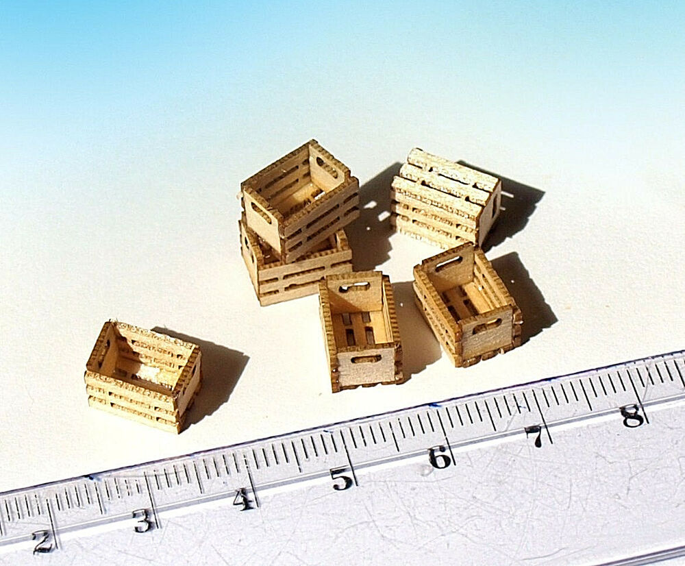 Miniature Wooden Crates Boxes HO O scale model train diorama ...