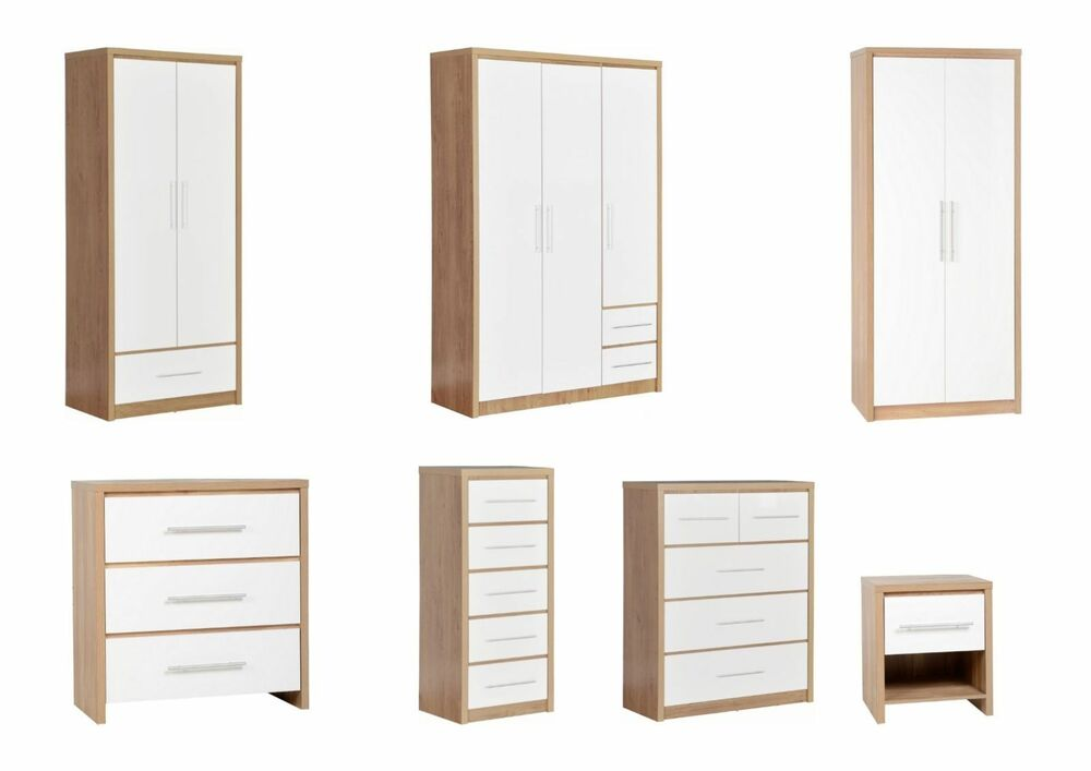 Seville light oak white gloss bedroom furniture for M s bedroom furniture uk