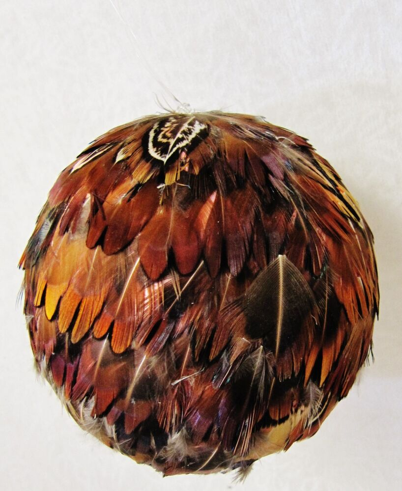 6 handmade natural guinea feather ball hanging ornament christmas home wedding ebay