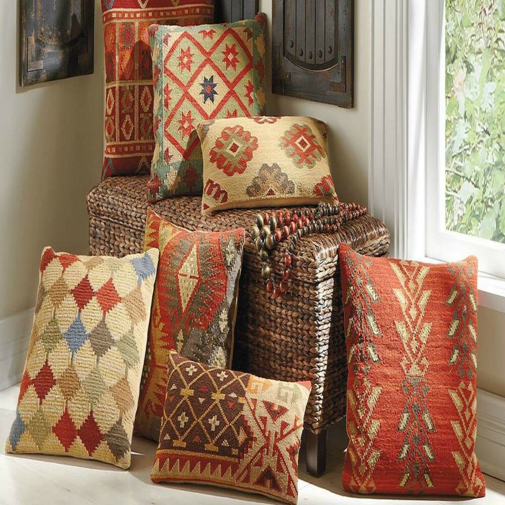 100 Wool Luxury Turkish Moroccan Colourful Kilim Cushion