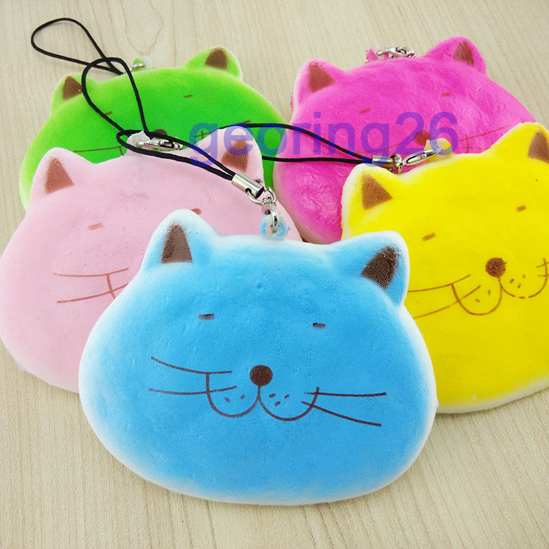 1PCS Adorable Cartoon Fat Cat Squishy Phone Straps Soft Scent Charms Key Chain eBay