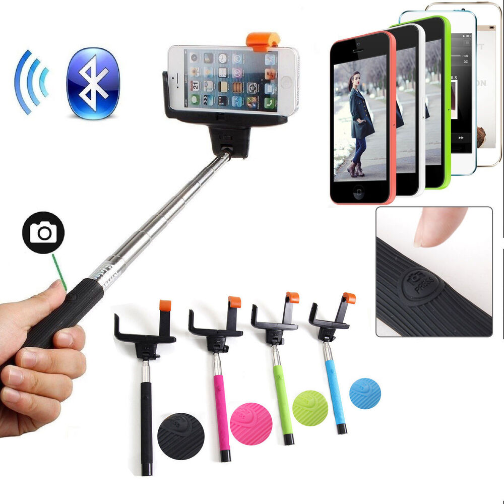 bluetooth shutter extendable handheld selfie stick monopod for samsung iphone ebay. Black Bedroom Furniture Sets. Home Design Ideas