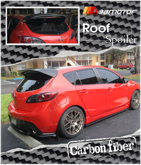 ms style carbon fiber rear roof spoiler wing for 10 13 mazda 3 mazda3 hatch 5dr ebay. Black Bedroom Furniture Sets. Home Design Ideas