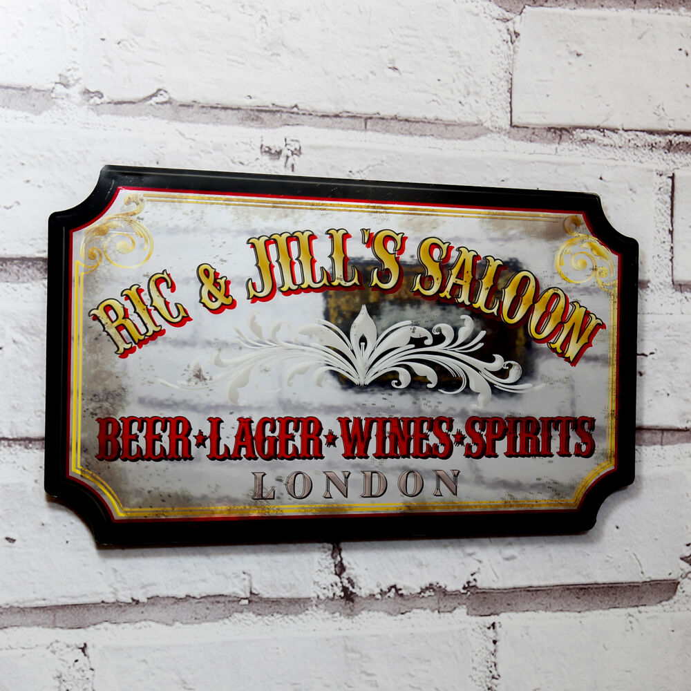 Home Bar Signs: Personalised Pub Mirror,Vintage Style Mirrored Pub Sign