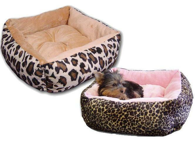 Small Leopard Print Square Plush Dog Bed For Pets Puppy