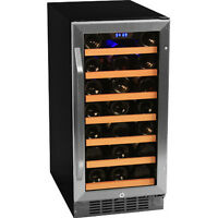 Stainless Steel 30 Bottle Built-In Wine Cooler, Compact Home Cellar Chill Fridge