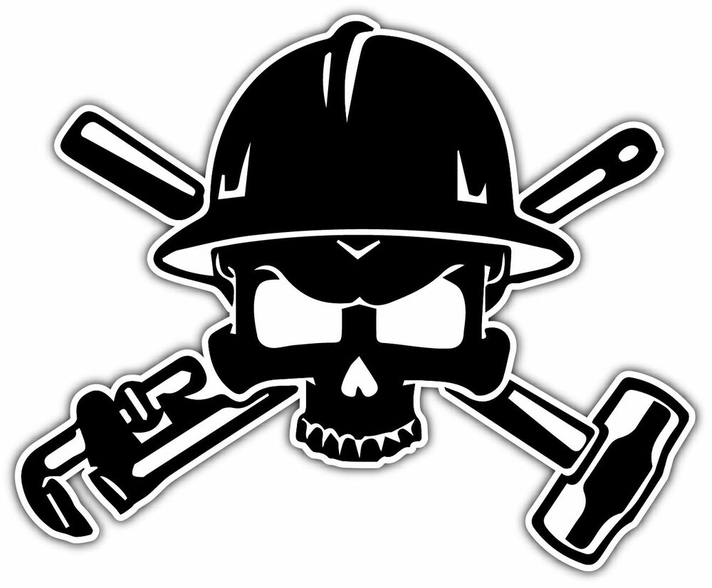 Rigger Oil Field Worker Crossbones Helmet Car Bumper Vinyl