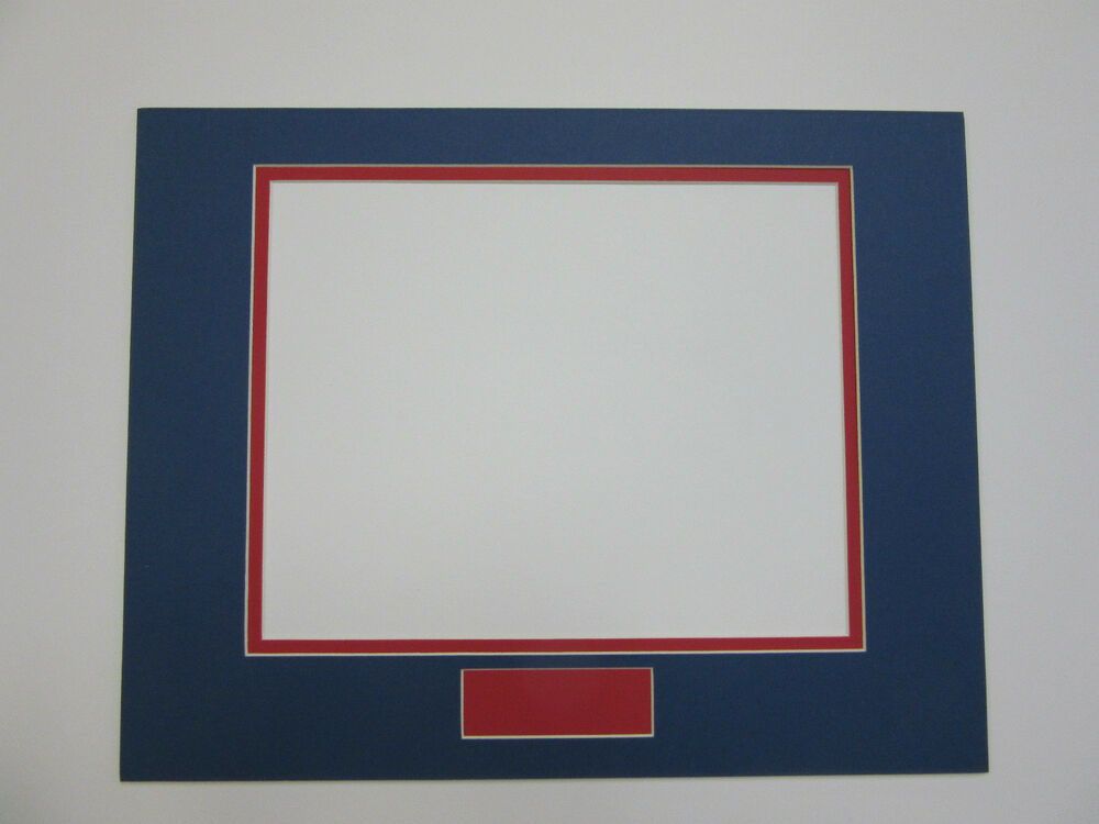 picture frame double mat 11x14 for 8x10 horizontal and nameplate blue with red ebay. Black Bedroom Furniture Sets. Home Design Ideas