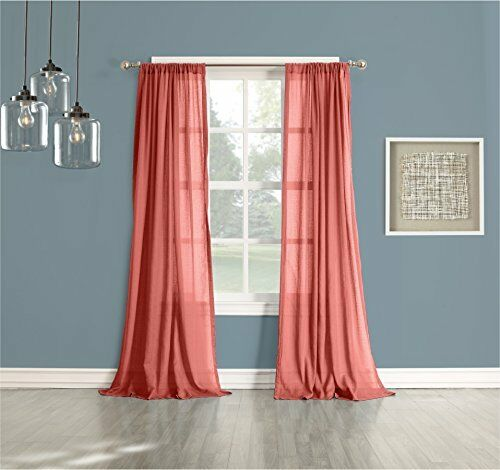 No 918 Cory Sheer Curtain Panel 50 By 84 Inch Coral Ebay