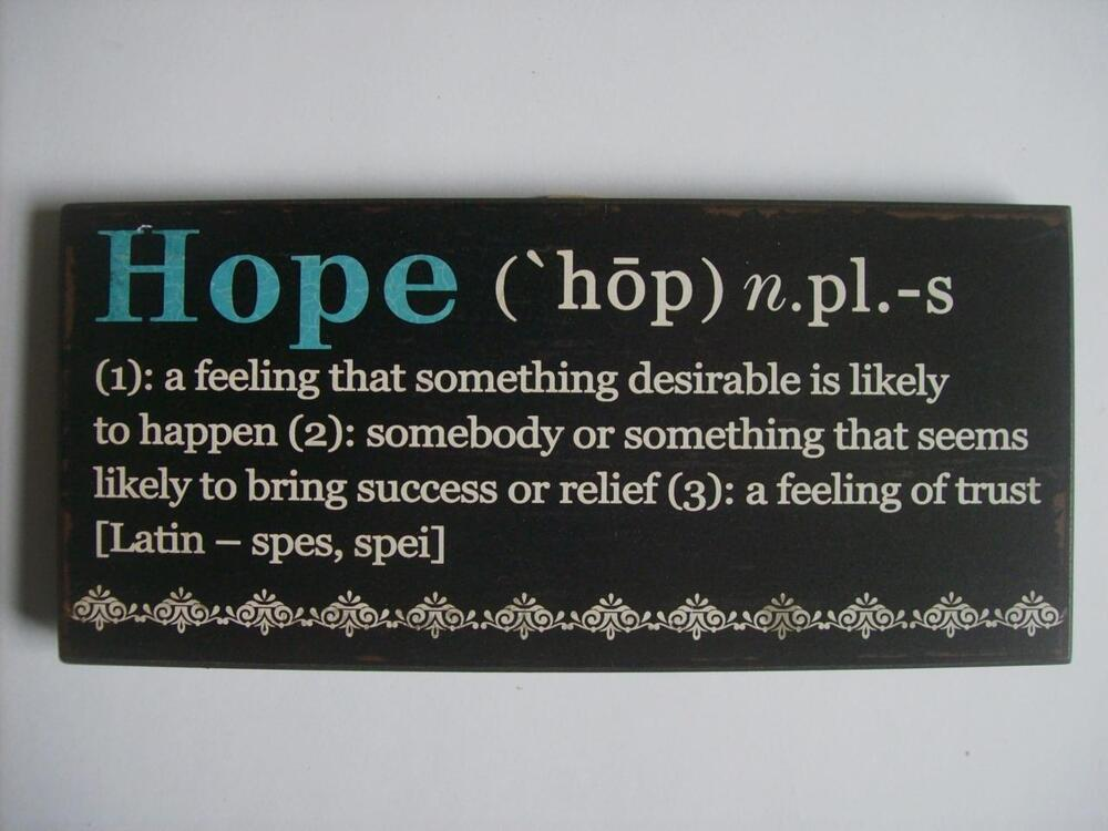 Quot Hope Quot Encouraging Word Definition Wood Sign Plaque 10 Quot X4