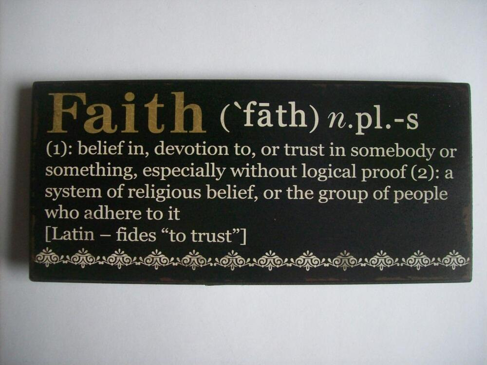faith encouraging word definition wood sign plaque 10 4 5. Black Bedroom Furniture Sets. Home Design Ideas