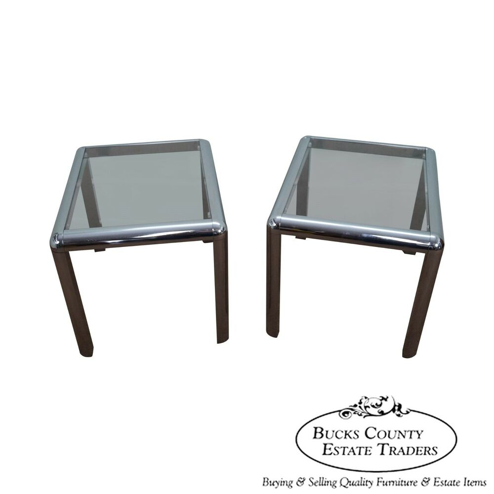 Mid Century Modern Pair Of Chrome amp Glass Top End Table EBay