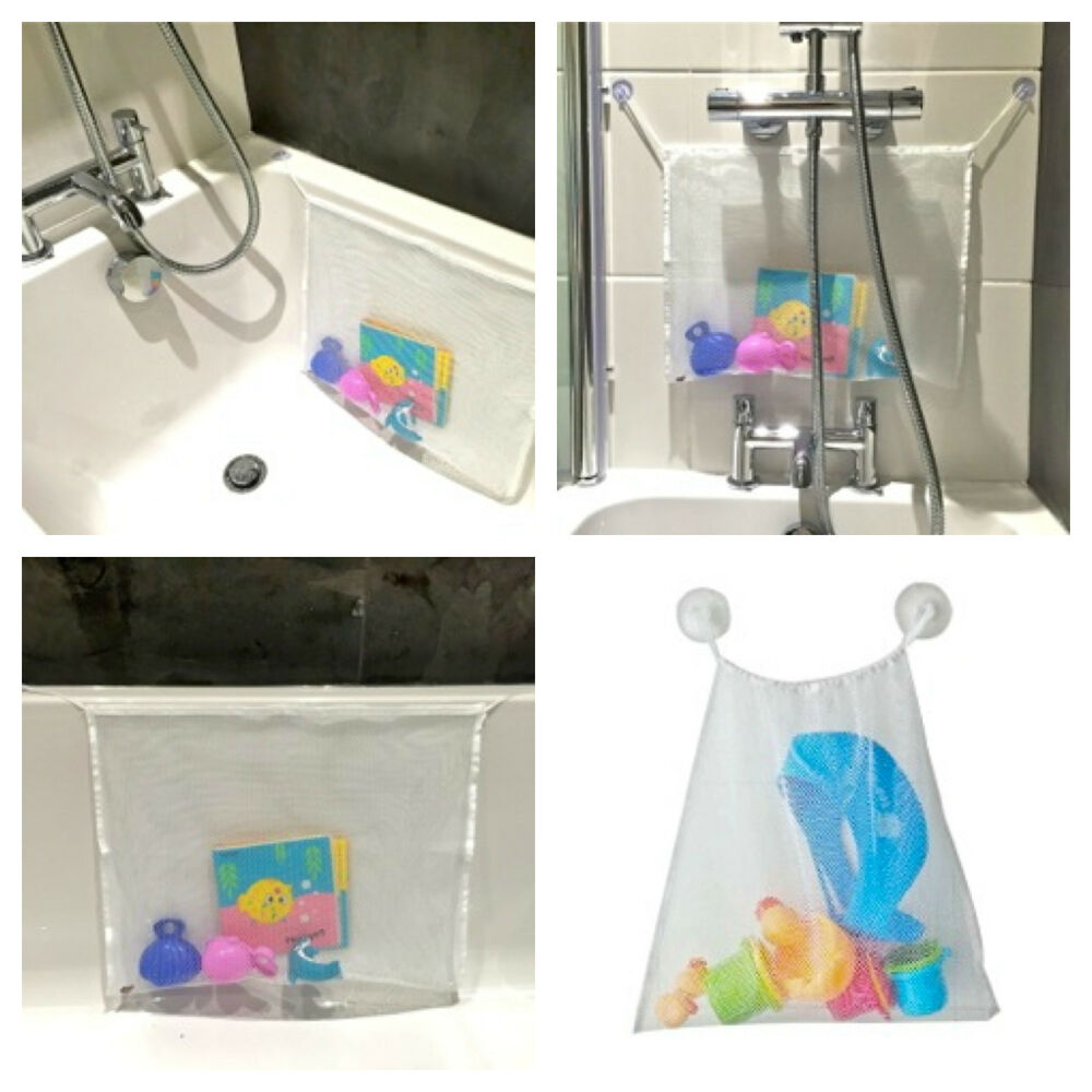 bath toy bag net tidy storage tile suckers large 45x35cm