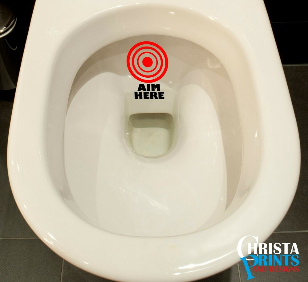Hit The Target Aim Toilet Funny Sticker Bathroom Decal