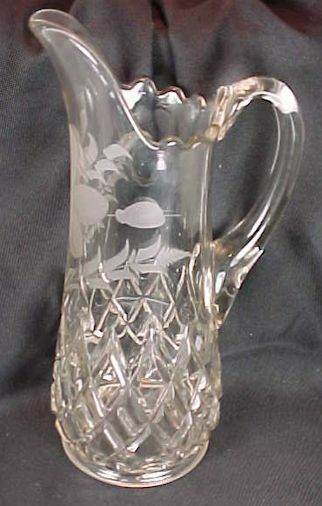 Double Strength Glass Cutting : Eapg findlay glass block double bar pitcher large size