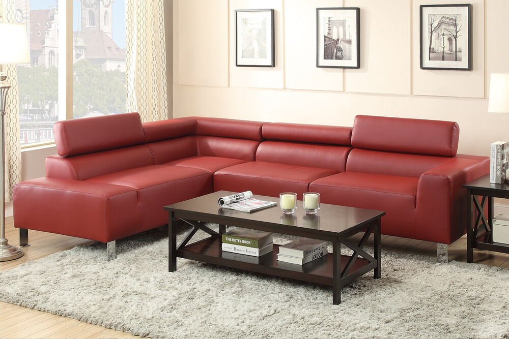 Sectional Bonded Leather Sofa Set W Adjustable Head Rest Living Room Furnitur