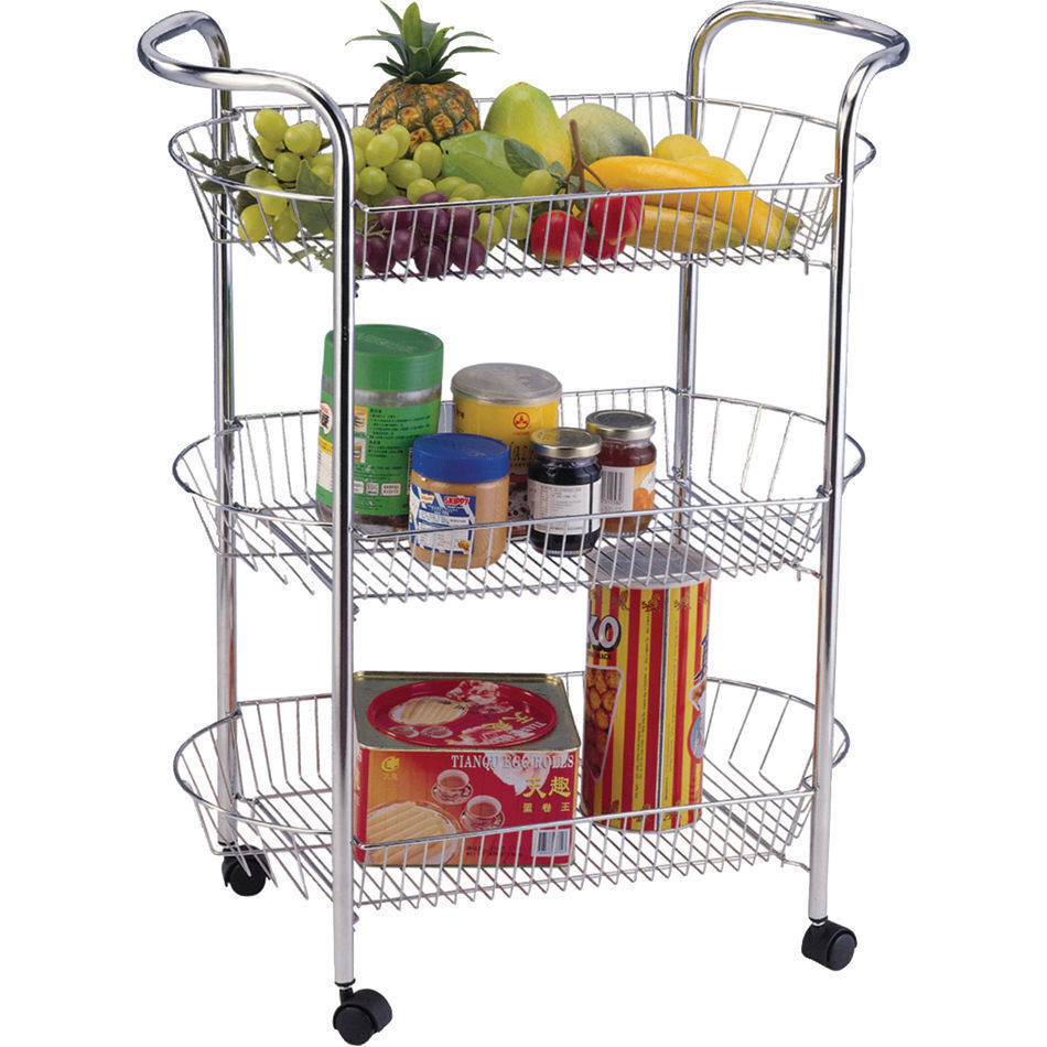 2 3 4 Tier Kitchen Trolley Fruit Vegetable Chrome Basket
