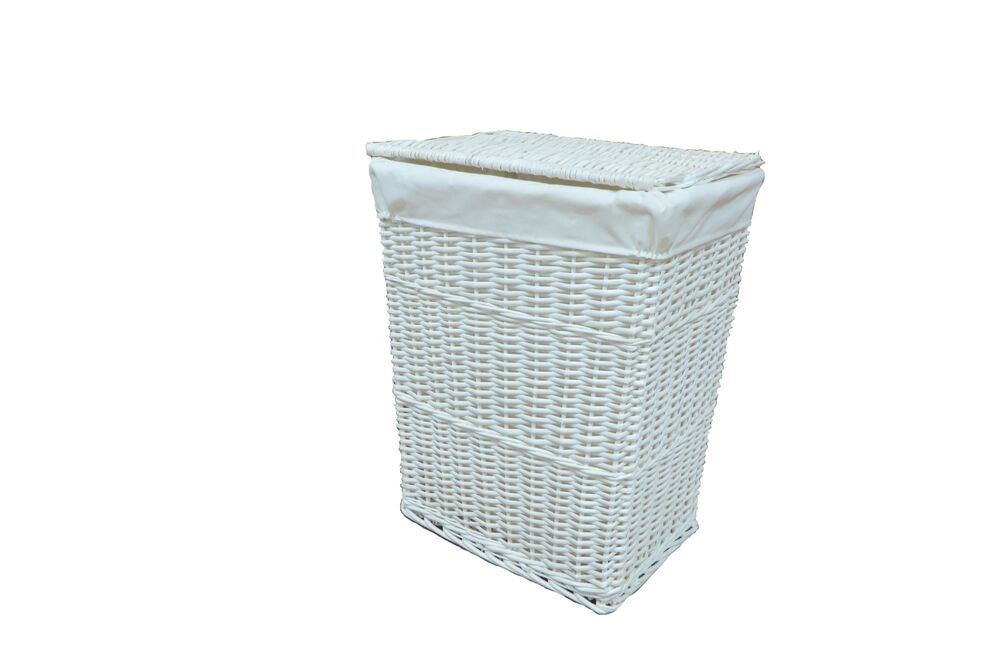 Arpan new white wicker linen laundry basket medium size 11 White wicker washing basket