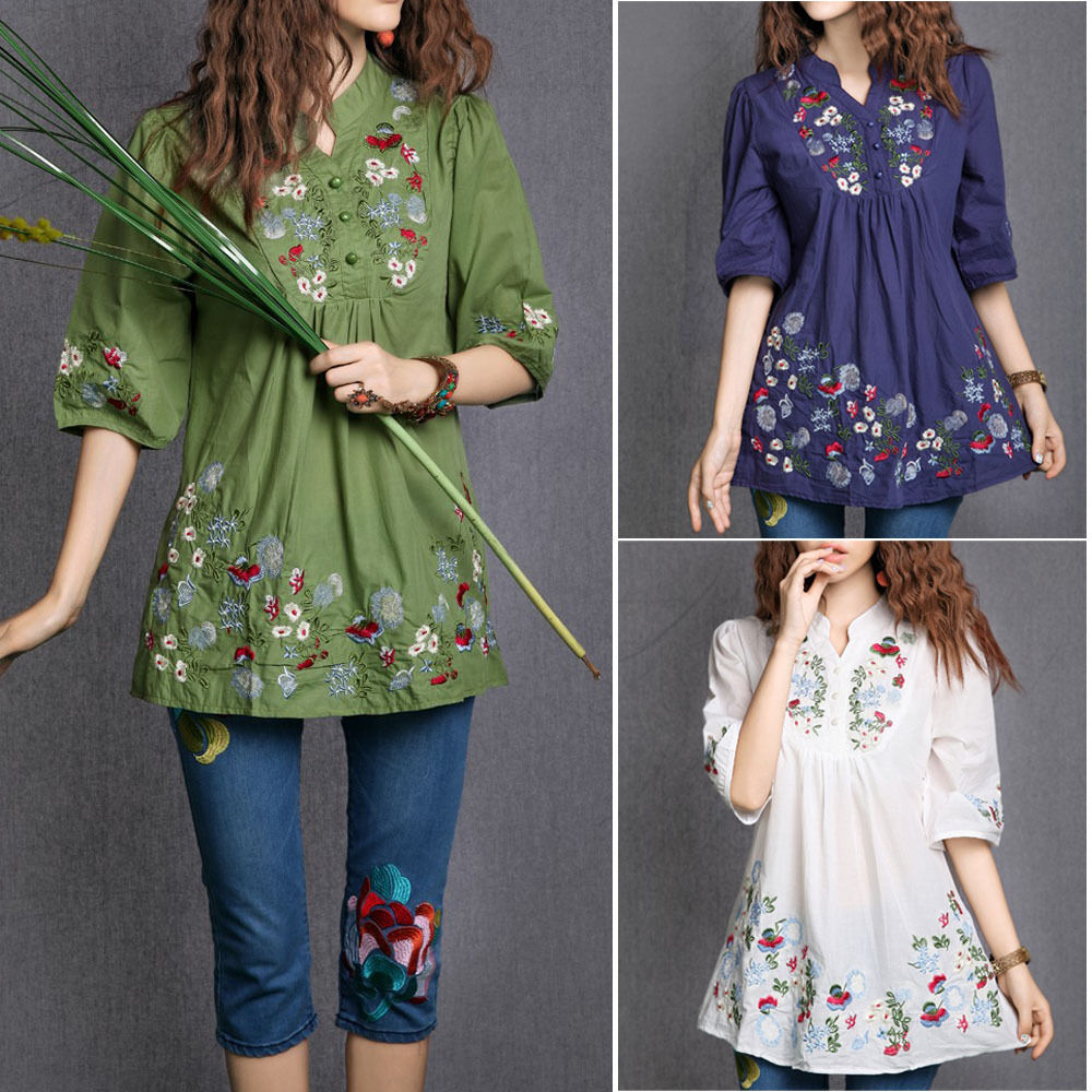 S women colorful mexican ethnic gypsy dress floral