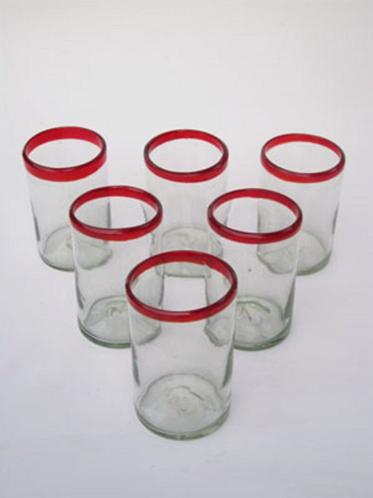 Mexican Drinking Glasses Red Rim