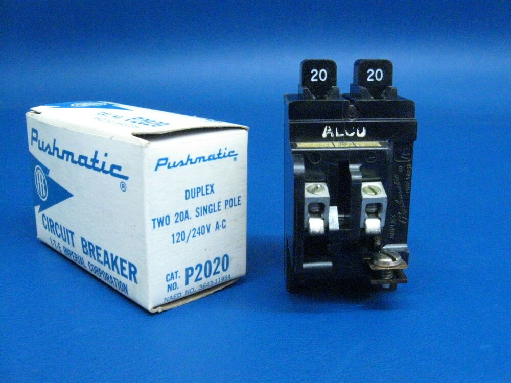 PUSHMATIC ITE BULLDOG 20 Amp Duplex or Twin Single Pole BREAKER P2020 NEW | eBay