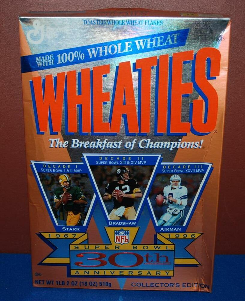 UNOPENED SUPER BOWL STARR BRADSHAW AIKMAN WHEATIES CEREAL
