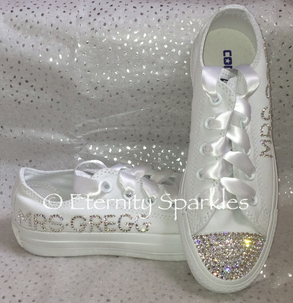ade56a38ddb9cb Customised Personalised Mono White Crystal Bling Sparkle Wedding Bridal  Converse