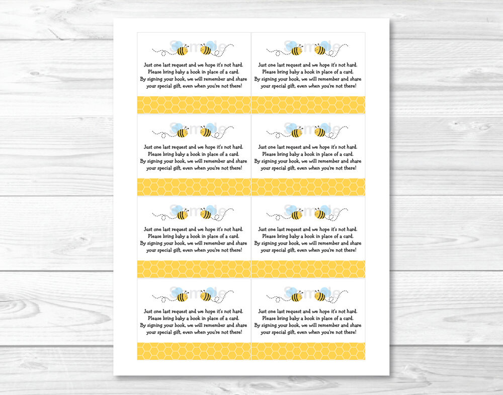 little bumble bee printable baby shower book request cards ebay