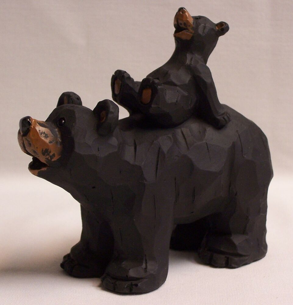 Bear with cub piggyback figurine home cabin decor ead for Bear home decorations