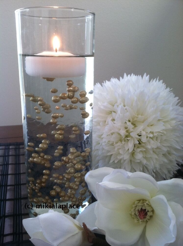 Decorative Champagne Pearls Vase Fillers Floating Pearl