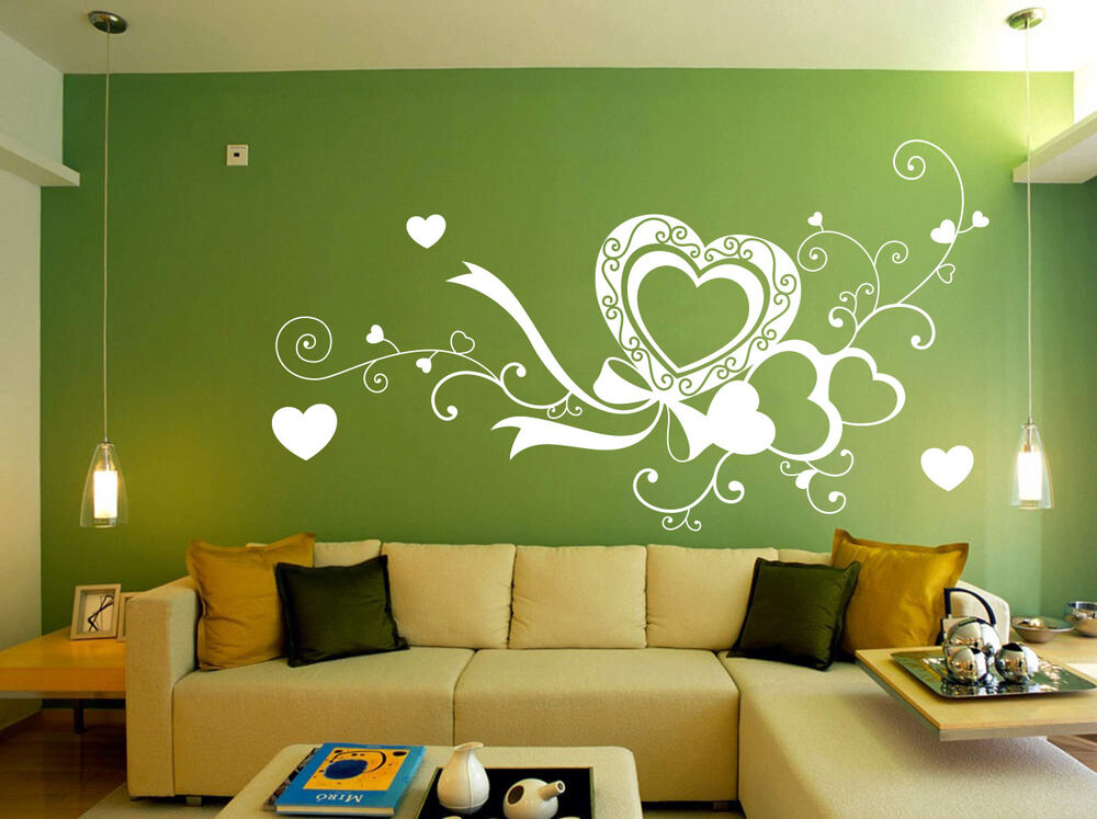 large love heart living room bed room wall stickers vinyl. Black Bedroom Furniture Sets. Home Design Ideas