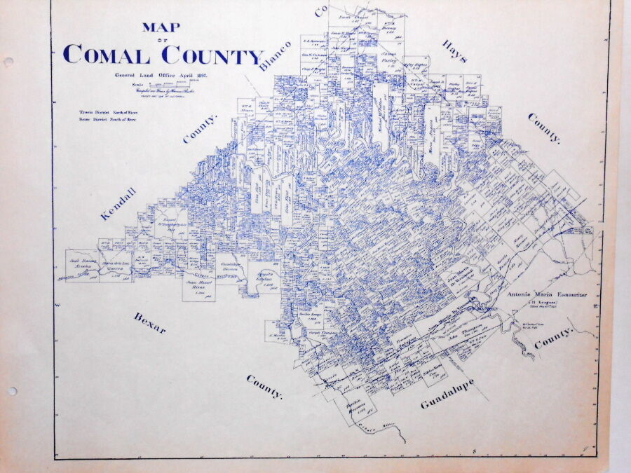 Old Comal County Texas Land Office Owner Map New Braunfels