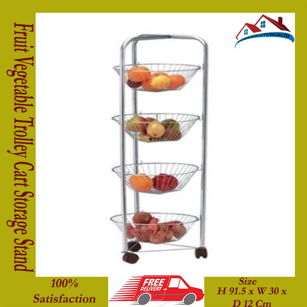 4 Tier Chrome Plated Kitchen Fruit Cart Vegetable Trolley Storage Stand Rack New Ebay
