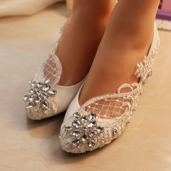 Heels Or Flats For Wedding: Lace Bridal Shoes Crystal Wedding Shoes Prom Flats Low
