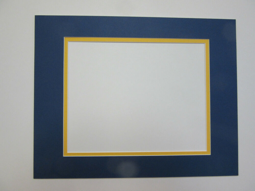 Picture Mat Double Mat 11x14 For 8x10 Photo Blue Amp Golden