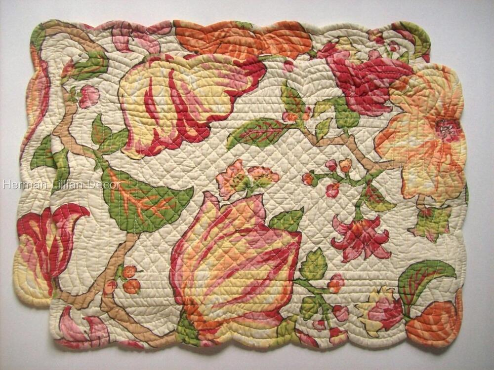 Set Of 2 C Amp F Alessandra Quilted Cotton Placemats Pinks