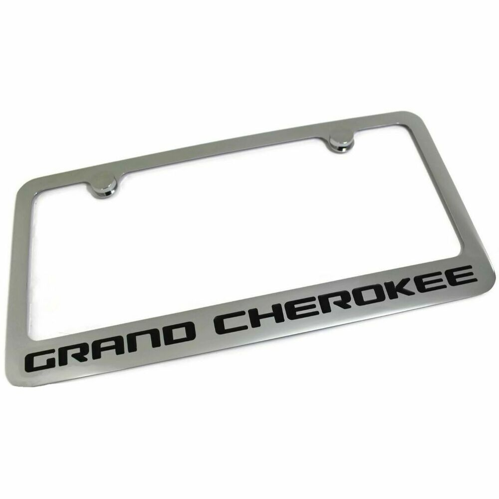 jeep grand cherokee license plate frame number tag engraved chrome plated brass ebay