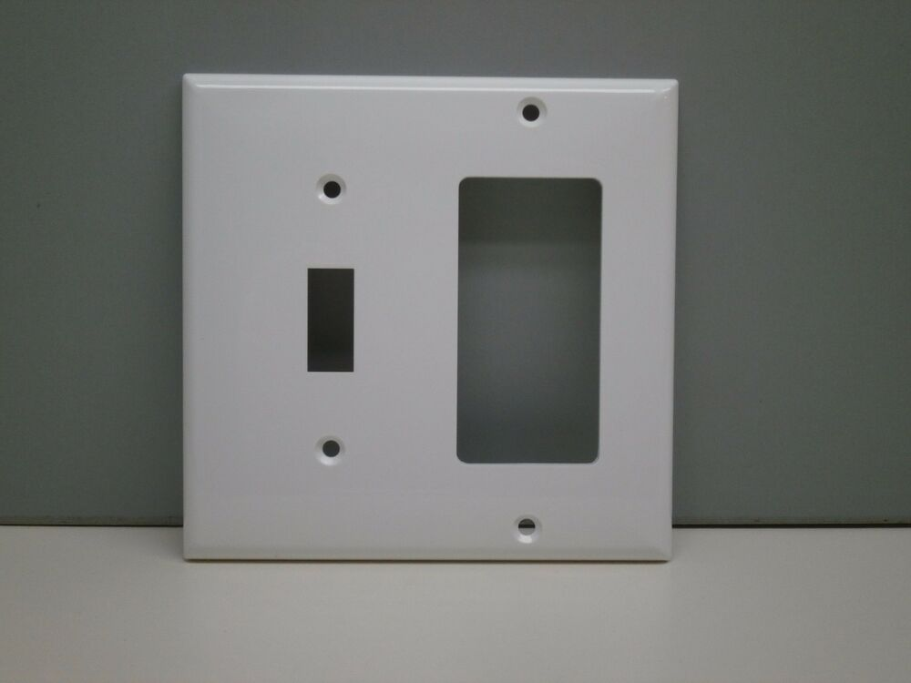 lot of 25 pep 2 gang toggle light switch gfci gfi outlet wall plate white ebay. Black Bedroom Furniture Sets. Home Design Ideas