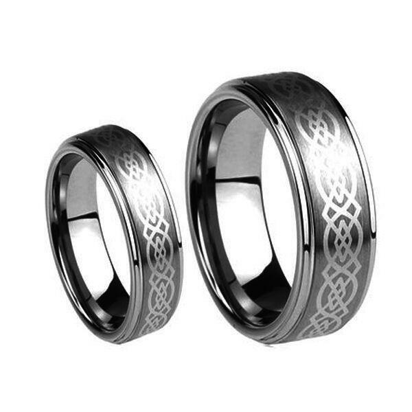 His 8MM Amp Hers 6MM Laser Celtic Knot Tungsten Carbide Wedding Band Ring Set