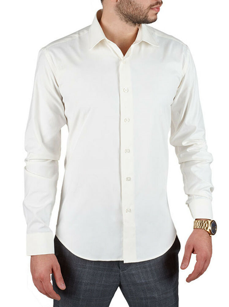 New Slim Fit Amanti Mens Off White Solid Dress Shirt Ebay