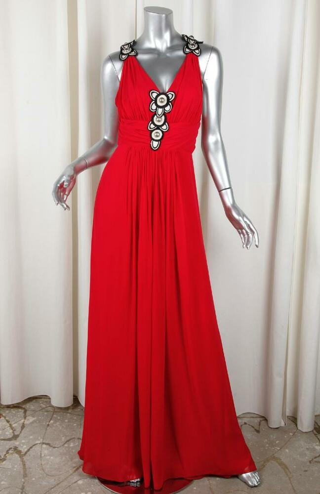 Temperley Womens Red Silk Chiffon Maxi Open Back Fit Flare