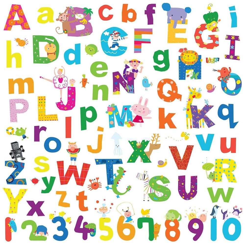 Alphabet lazoo letters 72 wall decals school numbers abc for Alphabet decoration
