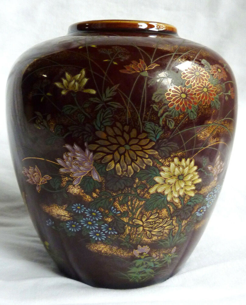 japanese vase toyo ceramic floral red gold 5 5 ebay. Black Bedroom Furniture Sets. Home Design Ideas