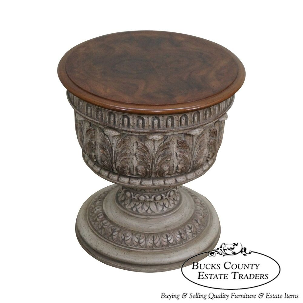 Quality carved low column pedestal end table ebay for Low end table
