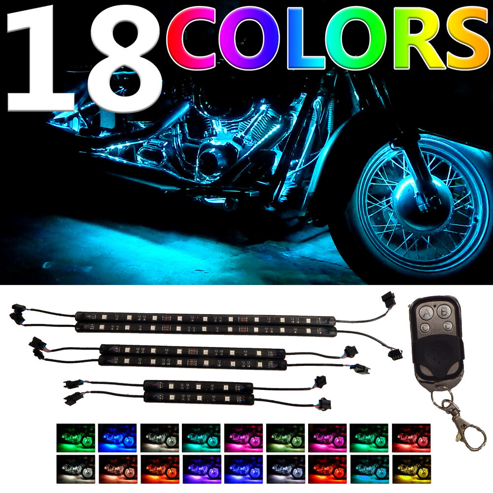 motorcycle h d led neon under glow lights strip kit for harley. Black Bedroom Furniture Sets. Home Design Ideas